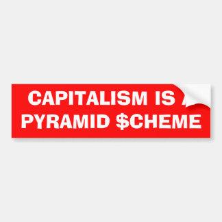 """""""Är kapitalism bildekalet för en pyramidintrig"""" Bildekal"""