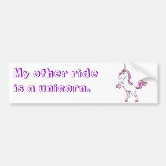 """""""Är min annan ritt en unicorn. """", Bildekal"""