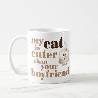 """""""Är min katt mer gullig än din pojkvän"""", Vit Mugg"""