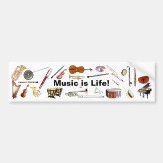 """""""Är musik liv"""" instrumenterar bildekalet Bildekal"""