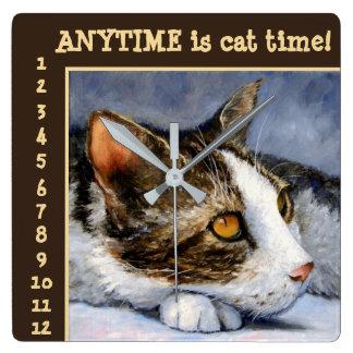 Är när som helst katten, den Time konst somväggen Fyrkantig Klocka
