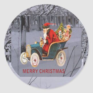 Är Santa som kör till din Townklistermärke Runt Klistermärke