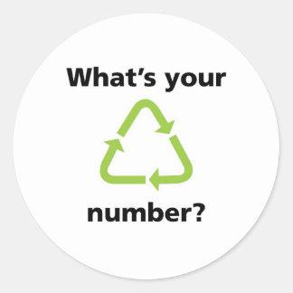 Är vad din numrerar? runt klistermärke