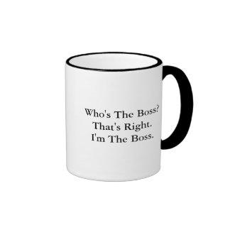 Är vem chefen? kaffe kopp