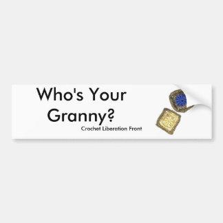 Är vem din Granny? Virkningbefrielsen beklär Bildekal