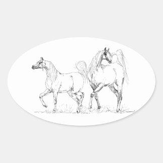 Arabisk hästklistermärke - arabiska hästar ovalt klistermärke