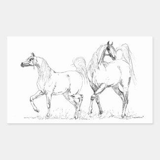 Arabisk hästklistermärke - arabiska hästar rektangulärt klistermärke