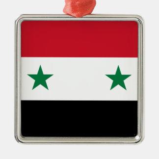 Arabrepubliken Syrien flagga - flagga av Syrien Silverfärgad Fyrkantigt Julgransprydnad
