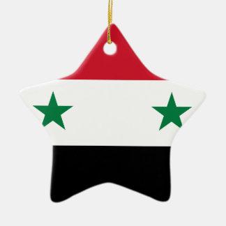 Arabrepubliken Syrien flagga - flagga av Syrien Stjärnformad Julgransprydnad I Keramik