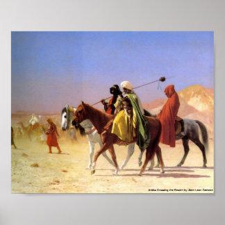 Arabs som korsar öknen vid Jean-Leon Gerome Poster