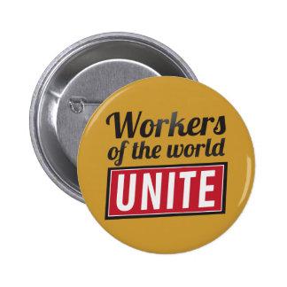 Arbetare av världen FÖRENAR Standard Knapp Rund 5.7 Cm
