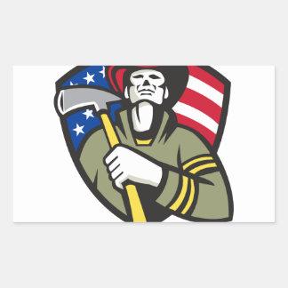Arbetare för akut för amerikanbrandmanbrandman rektangulärt klistermärke