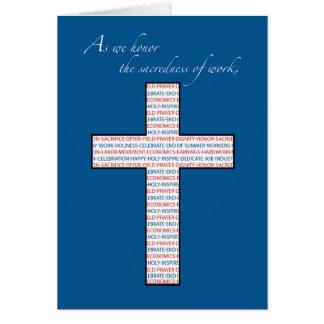 Arbets- dag kristenkor som är röd, vit, blått hälsningskort