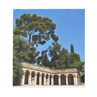 Archaeological plats överst av slottbacken i Nice Anteckningsblock