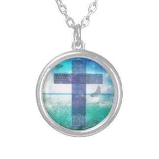 Arg samtida konst för kristen silverpläterat halsband