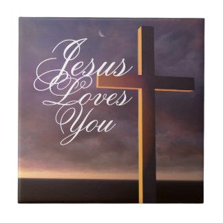 Arga Jesus älskar dig som är keramisk, belägger Liten Kakelplatta