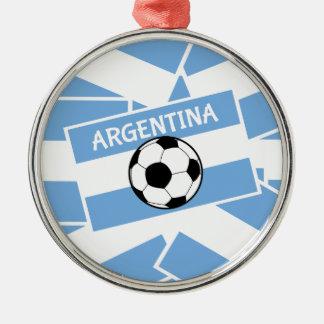 Argentina fotboll rund silverfärgad julgransprydnad