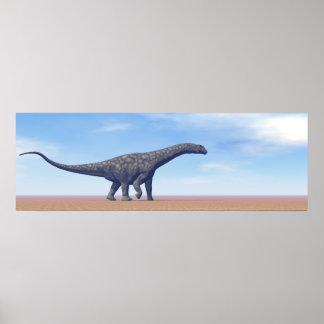 Argentinosaurusdinosaur i öknen - 3D framför Poster