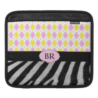 Argyle för Monogramrosagult pläd & zebra mönstrad Sleeve För iPads