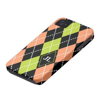 Argyle mönstersvart, korall, grön monogram iPhone 4 skal