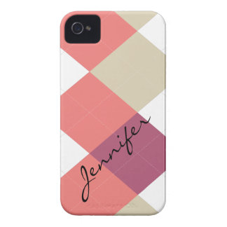 Argyle randrosor, korall personifierade iPhonen iPhone 4 Case-Mate Skal