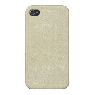 Ariel: För tryckiPhone 4 för guld- Sand damastast iPhone 4 Fodraler