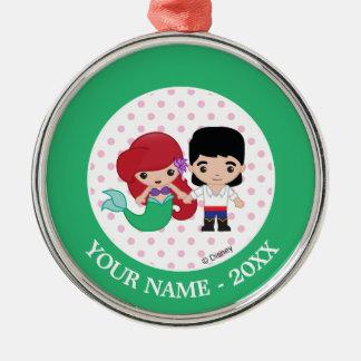 Ariel och namn för Prince Eric Emoji Tillfoga Din Julgransprydnad Metall