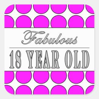 Årig rosa polka dots för sagolik en arton fyrkantigt klistermärke