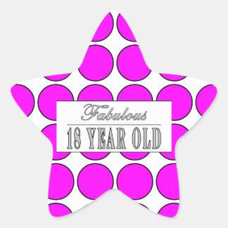 Årig rosa polka dots för sagolik en arton stjärnformat klistermärke