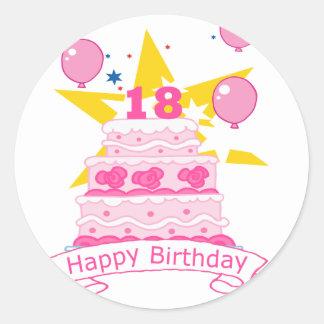 Årig tårta för födelsedag 18 runt klistermärke