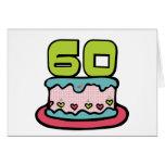 Årig tårta för födelsedag 60 hälsningskort