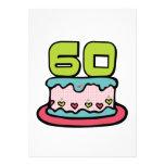 Årig tårta för födelsedag 60 anpassade inbjudningskort