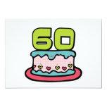 Årig tårta för födelsedag 60 inbjudningar
