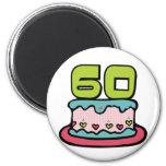 Årig tårta för födelsedag 60 kylskåpsnagnet