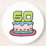 Årig tårta för födelsedag 60 underlägg för glas
