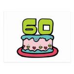 Årig tårta för födelsedag 60 vykort
