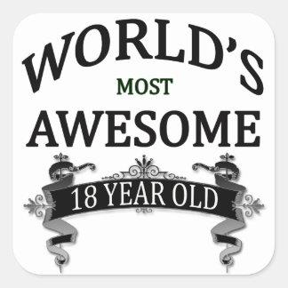 Åriga världs mest fantastisk 18 fyrkantigt klistermärke