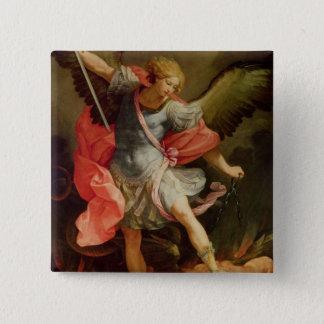 Ärkeängeln Michael som besegrar Satan Standard Kanpp Fyrkantig 5.1 Cm