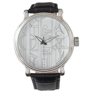 Arkitekt Dröm-Svart och vitbläckteckning Armbandsur
