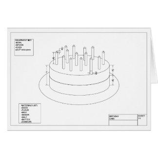 Arkitektonisk födelsedagtårta hälsningskort