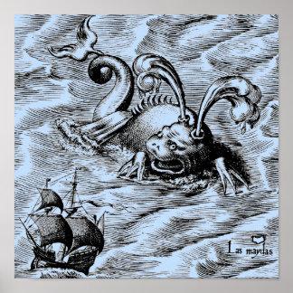 Arktiskt havsmonster och seglingfrakt poster