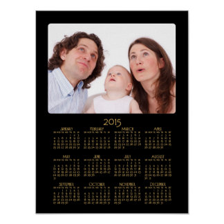Årlig kalender 2015 för personligsvartaffisch poster