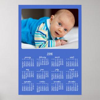 Årlig kalender 2016 för blåttpersonligaffisch poster