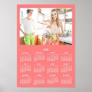 Årlig kalender 2016 för korallpersonligaffisch poster