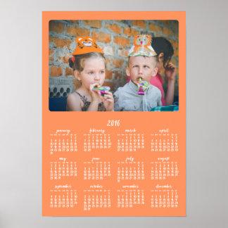 Årlig kalender 2016 för orangepersonligaffisch poster