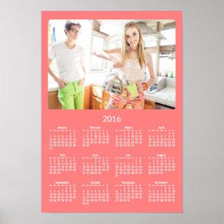 Årlig kalender 2016 för personligkorallaffisch poster