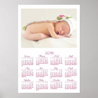 Årlig kalender 2016 för personligvitaffisch poster