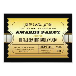 Årliga filmutmärkelsear festar den guld- biljetten 12,7 x 17,8 cm inbjudningskort