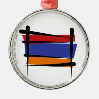 Armenien borstar flagga julgransprydnad metall