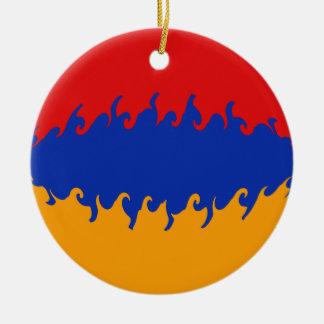 Armenien Gnarly flagga Rund Julgransprydnad I Keramik